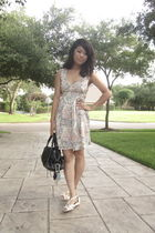 white Urban Outfitters dress - white Clarks shoes - black balenciaga accessories