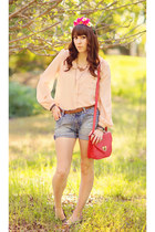 hot pink leather Forever 21 bag - sky blue cut offs DIY shorts