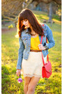Sky-blue-denim-sf-jacket-hot-pink-leather-forever-21-purse