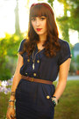 Brown-vintage-bag-bag-navy-dress