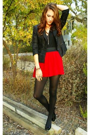 black blazer - red Forever 21 skirt - black stockings