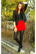 black blazer - red Forever 21 skirt - black stockings