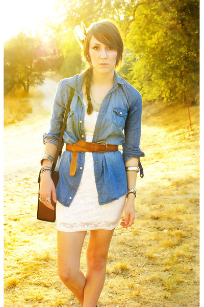 white lace H&M dress - blue demin shirt - brown leather belt
