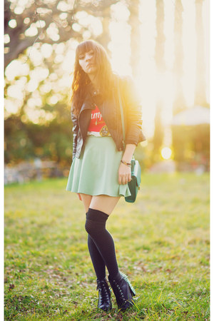 aquamarine skater Forever 21 skirt - black Jeffrey campbells boots