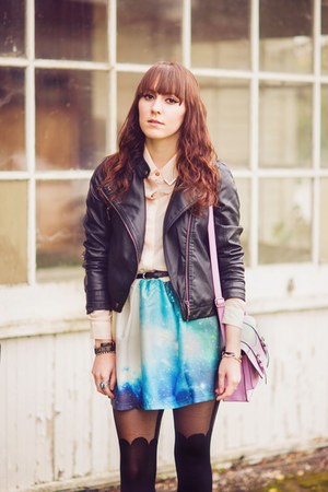 sky blue space OASAP skirt - black leather collection b jacket