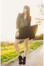 Navy-velvet-oasap-skirt-black-spiked-zara-blazer-heather-gray-shirt