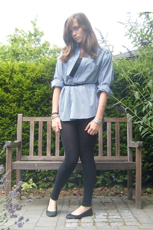 my dads blouse - H&M belt - V&D tights - H&M shoes