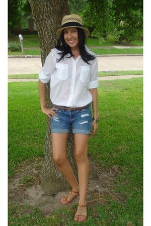 white Forever 21 blouse - blue American Eagle shorts - brown American Eagle belt