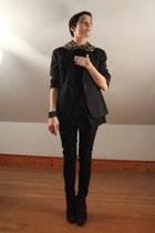 deep purple Aldo shoes - black calvin klein blazer - black f21 blouse - black f2