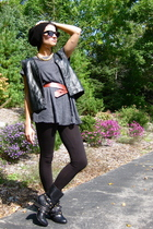 thrifted mesh jersey shirt - f21 leggings - thrifted quilted vest - Aldo boots -