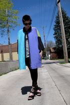 blue thrifted shirt - white f21 top - black f21 leggings - black ann demeulemees