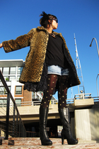 thifted leopard print coat - thrifted top - Levis shorts - old gold & stockings