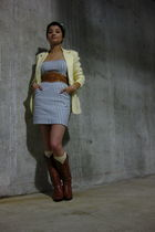 blue f21 dress - yellow thrifted blazer - brown vintage belt - brown vintage boo