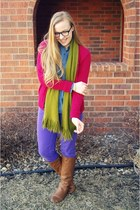 olive green Target scarf - tawny sears boots - ruby red Target cardigan