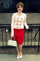 red vintage skirt - light pink vintage cardigan