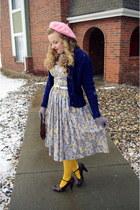 periwinkle vintage dress - bubble gum Paris hat - light yellow Target tights