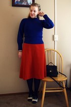 navy vintage sweater - carrot orange vintage skirt