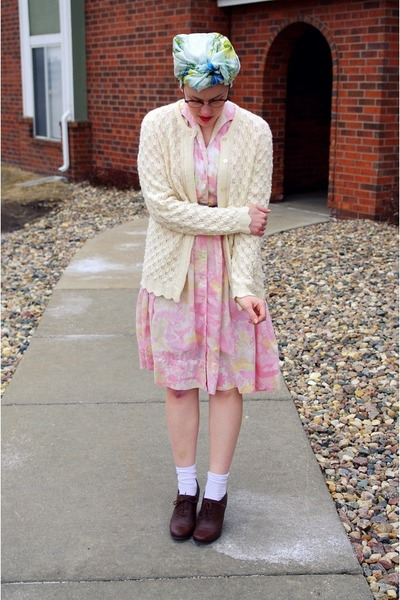 light pink vintage dress - light blue vintage scarf - ivory vintage cardigan