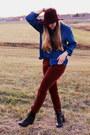 Maroon-target-hat-dark-brown-kohls-boots-tawny-kohls-pants
