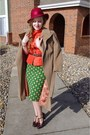 Ruby-red-vintage-hat-teal-anthropologie-skirt-carrot-orange-vintage-blouse