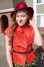 Ruby-red-vintage-hat-teal-anthropologie-skirt-carrot-orange-vintage-blouse