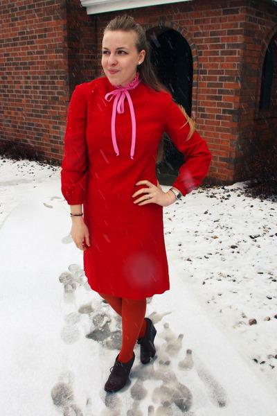 ruby red vintage dress - carrot orange Target tights - bubble gum vintage blouse