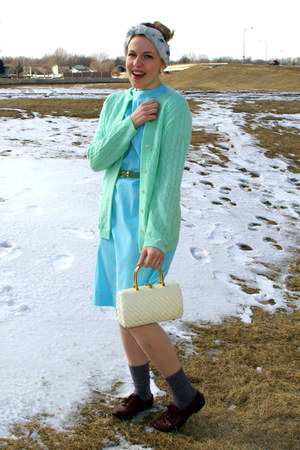 light blue vintage dress - white vintage bag - periwinkle vintage socks