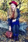 Maroon-vintage-hat-navy-vintage-skirt-burnt-orange-vintage-blouse
