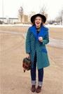 Blue-vintage-coat-green-vintage-coat-black-vintage-hat