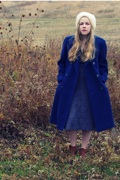 navy vintage coat - periwinkle Target dress