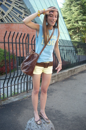 christian dior t-shirt - H&amp;M shorts - vintage belt - gianfranco ferre purse - Ca