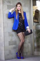 blue Zara blazer - omsa tights - black Stradivarius shorts