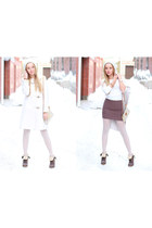 fay coat - Pollini boots - white zalzedonia tights - Zara jumper