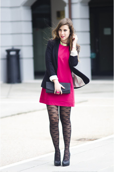 black Zara blazer - red westrags dress - black omsa tights