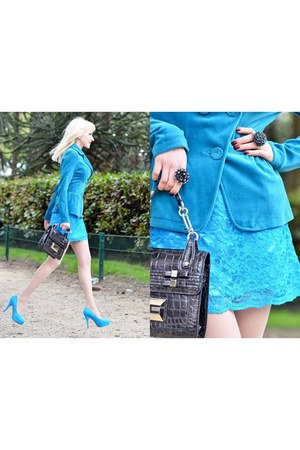 black Guess bag - sky blue terra di sien coat - sky blue JENNIKA heels