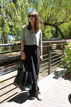 black Tally Weijl skirt - black Mango bag - heather gray Tally Weijl t-shirt