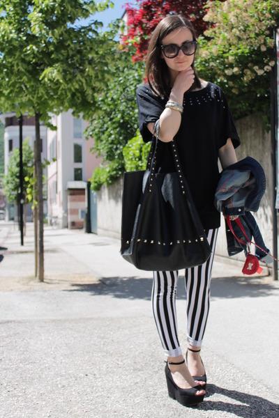 black Mango bag - off white Calzedonia leggings - black Prada sunglasses
