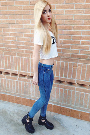 white crop top choiescom top - black cut out boots Arzillo Shoes boots