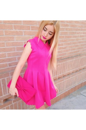 hot pink pleated Oasapcom dress - hot pink bow H&M bag