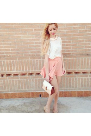 light pink cotton Oasapcom skirt - nude leather Zara heels
