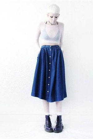 navy denim Mind the Mustard skirt - white mesh Mind the Mustard top