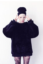 SOMEWHERE NOWHERE FAUX FUR SWEATER BLACK