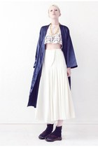 navy kimono Mind the Mustard jacket - white culottes Mind the Mustard pants