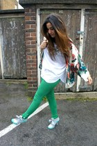 aquamarine Irregular Choice heels - chartreuse BLANCO leggings
