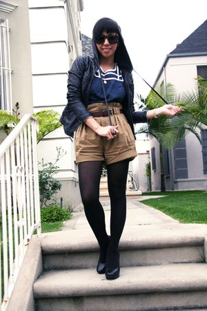 black ever jacket - blue steven alan blouse - brown Zara shorts - black calvin k