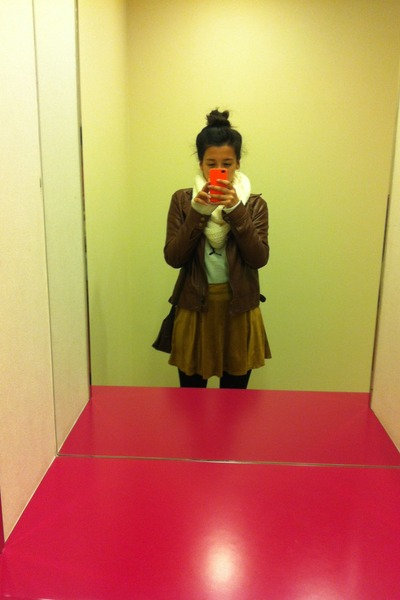 brown coat - white sweater - white cotton on scarf - bronze skirt