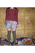 brick red Mossimo sweater - tan oxfords vintage shoes