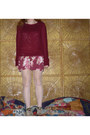 Eggshell-bowling-vintage-shoes-maroon-floral-dress-brick-red-sweater
