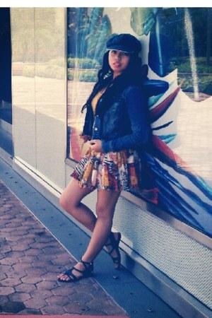 boho Royal Love skirt - denim hat - denim jacket jacket - tank top shirt