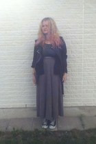 gray Primark top - black Vero Moda shirt - silver Secondhand skirt